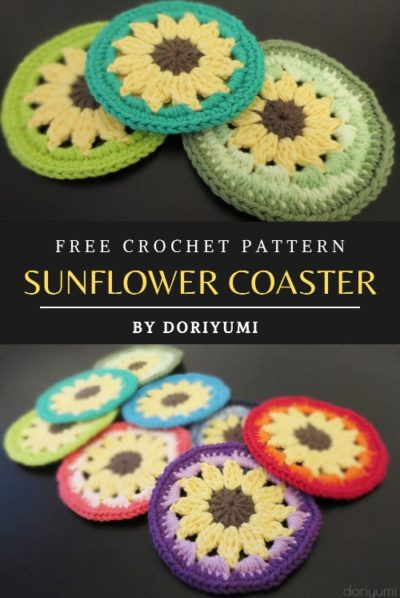 Free Crochet Pattern Sunflower Coaster