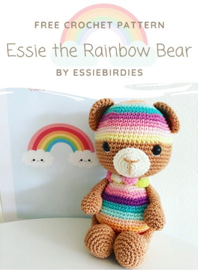 Free Crochet Pattern Essie the Rainbow Bear