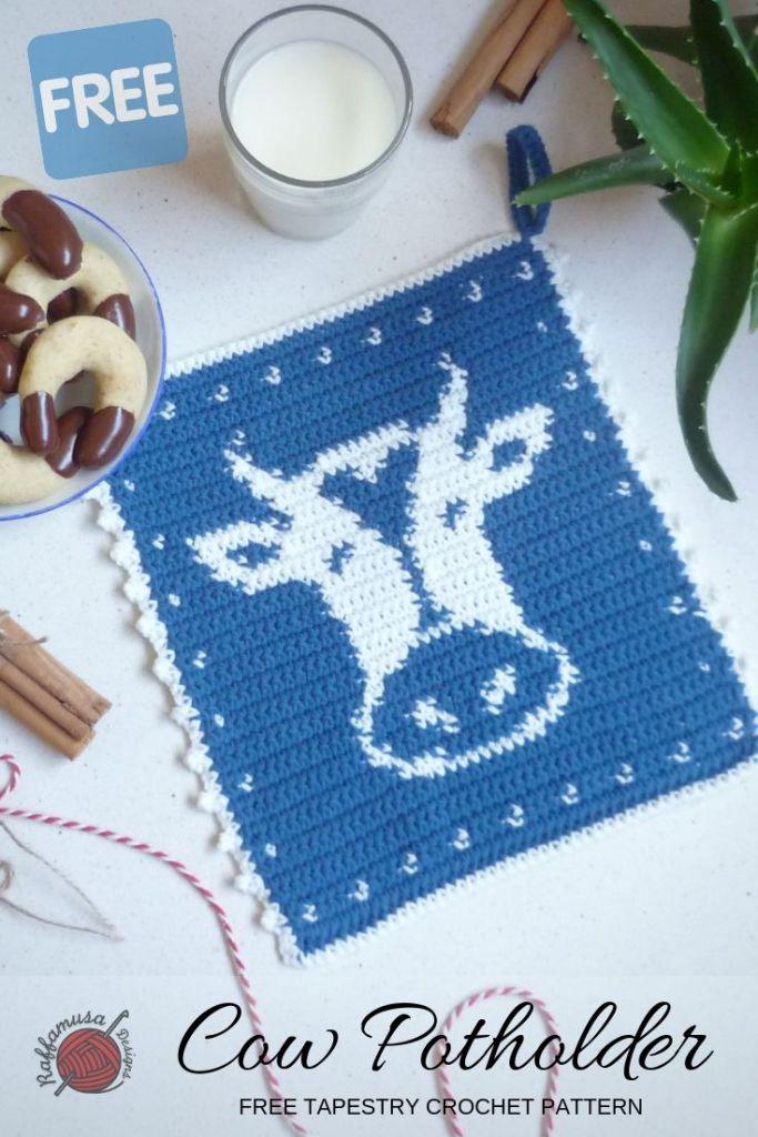 Free Crochet Pattern Tapestry Cow Potholder