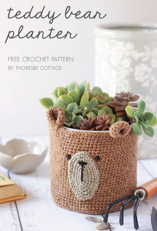 Free Crochet Pattern Teddy Bear Planter