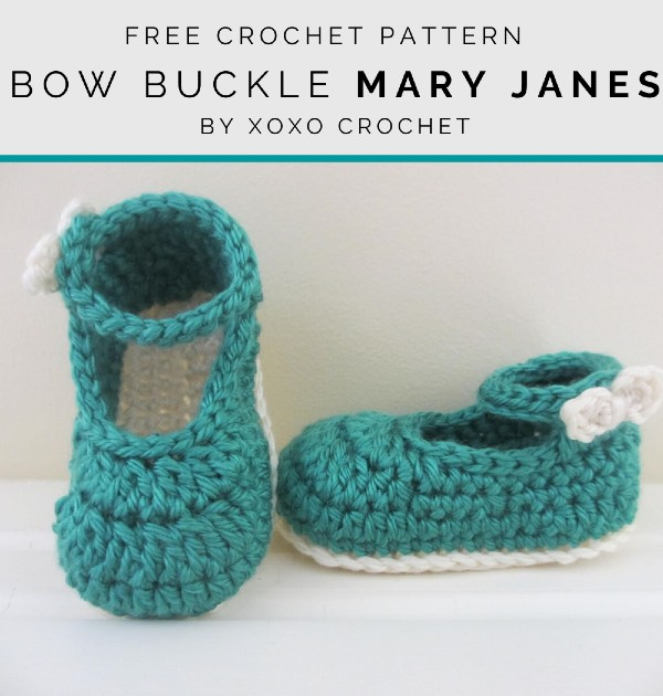 Free Crochet Pattern Bow Buckle Mary Janes