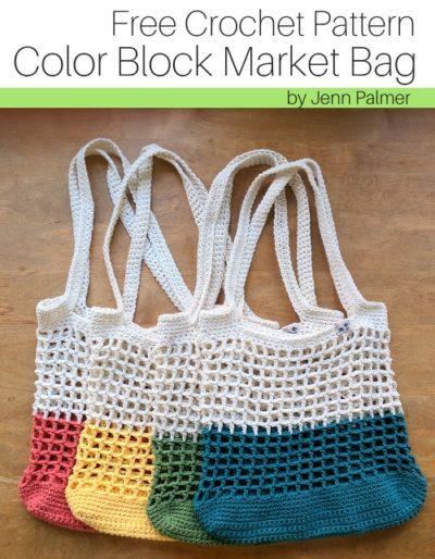 Free Crochet Pattern Color Block Market Bag