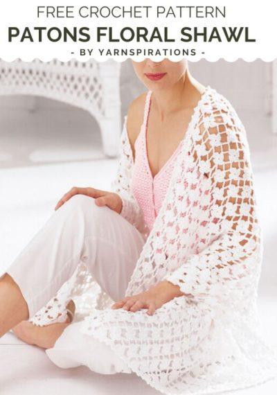 Free Crochet Pattern Patons Floral Shawl