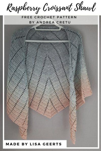 Free Crochet Pattern Raspberry Croissant Shawl