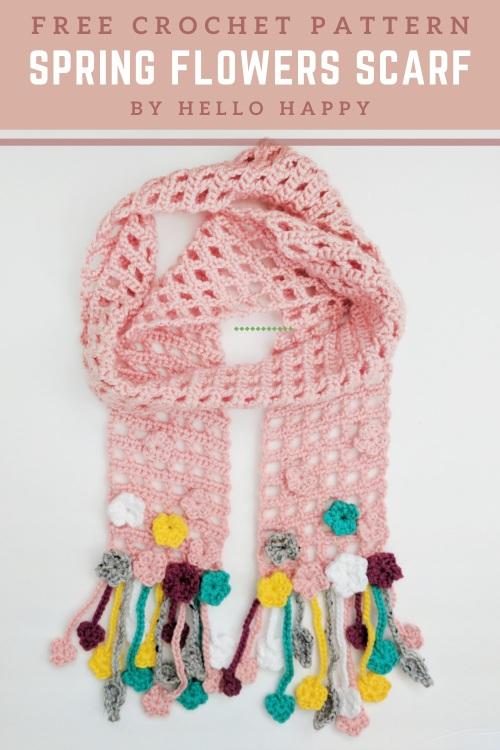 Free Crochet Pattern Spring Flowers Scarf