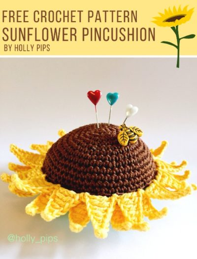 Free Crochet Pattern Sunflower Pincushion