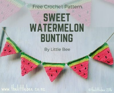 Free Crochet Pattern Sweet Watermelon Bunting