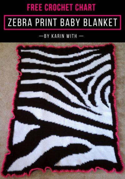 Free Crochet Pattern Zebra Print Baby Blanket