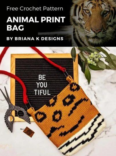 Free Crochet Pattern Animal Print Bag