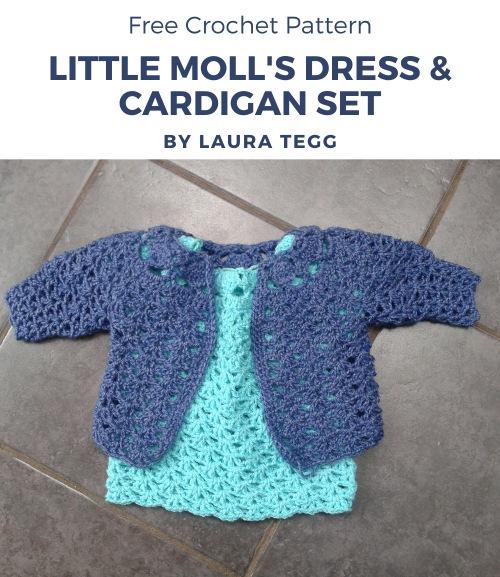Free Crochet Pattern Little Moll's Dress & Cardigan Set
