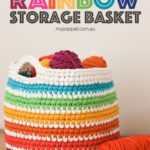 Free Crochet Pattern Rainbow Storage Basket