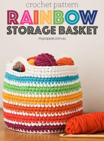 Free Crochet Pattern Rainbow Storage Basket