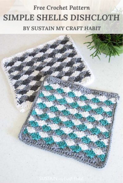 Free Crochet Pattern Simple Shells Dishcloth