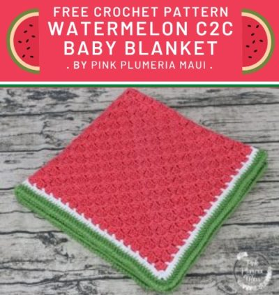 Free Crochet Pattern Watermelon C2C Baby Blanket