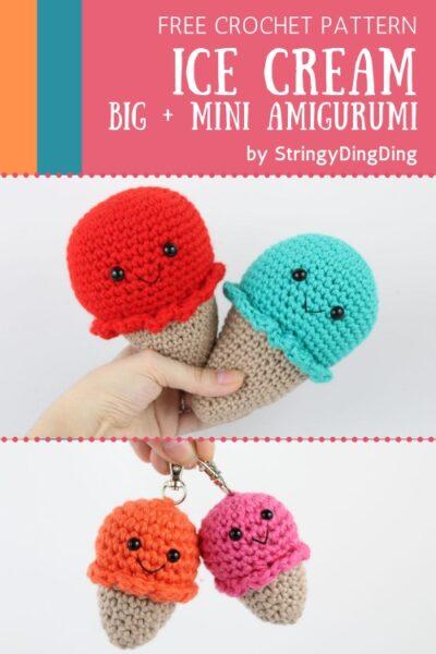 Free Crochet Pattern Ice Cream Big & Mini
