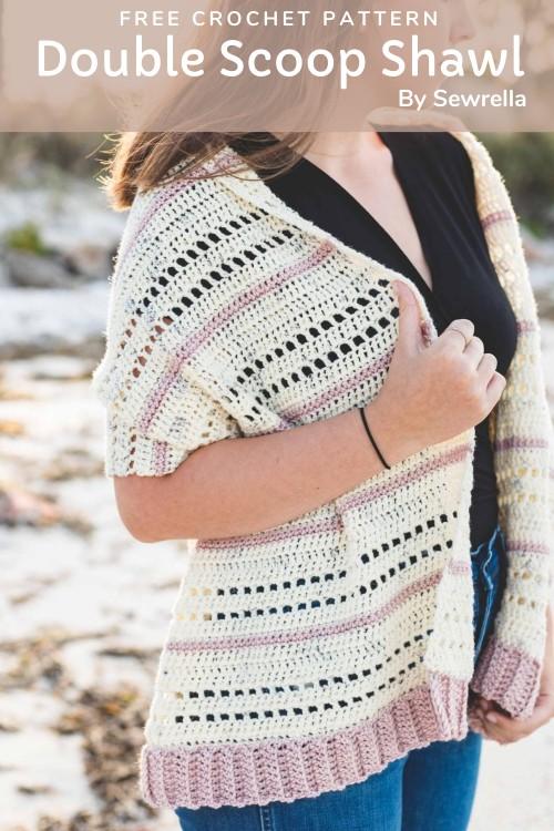 Free Crochet Pattern Double Scoop Shawl