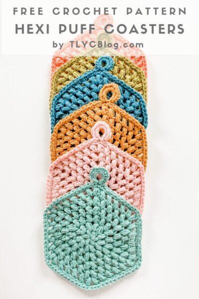Free Crochet Pattern Hexi Puff Coasters