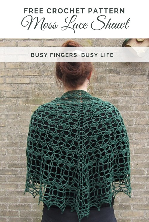 Free Crochet Pattern Moss Lace Shawl