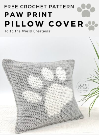 Free Crochet Pattern Paw Print Pillow Cover