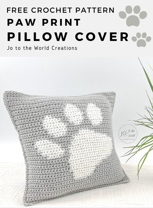Free Crochet Pattern Paw Print Pillow Cover
