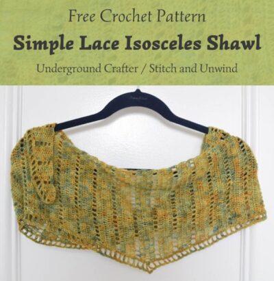 Free Crochet Pattern Simple Lace Isosceles Shawl