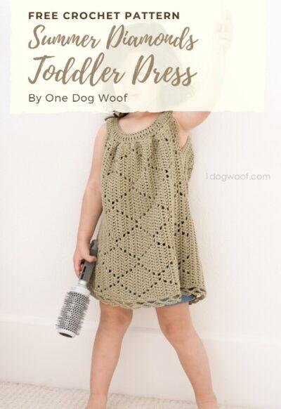 Free Crochet Pattern Summer Diamonds Toddler Dress