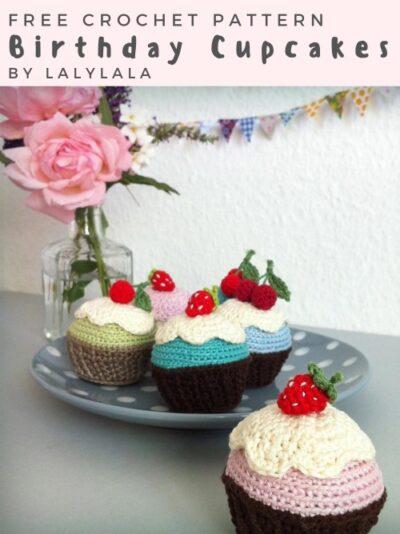 Free Crochet Pattern Birthday Cupcakes