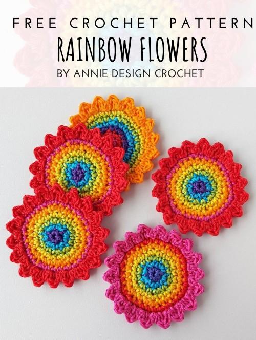 Free Crochet Pattern Rainbow Flowers