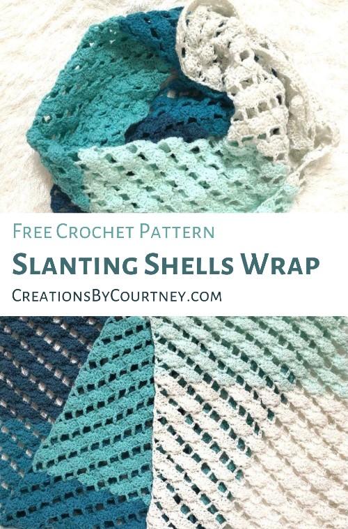 Free Crochet Pattern Slanting Shells Wrap