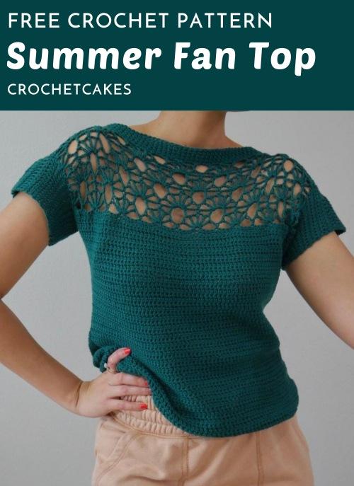 Free Crochet Pattern Summer Fan Top