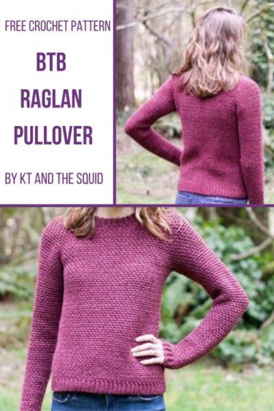 Free Crochet Pattern BTB Raglan Pullover