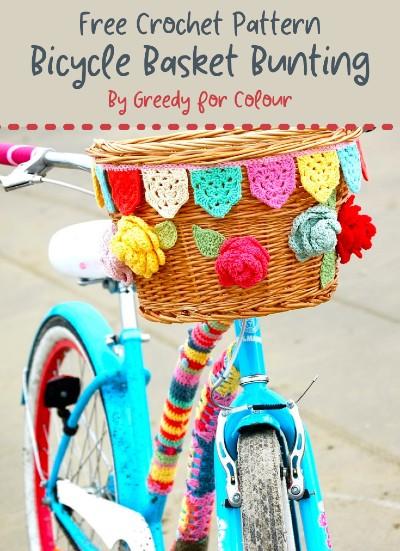 Free Crochet Pattern Bicycle Basket Bunting