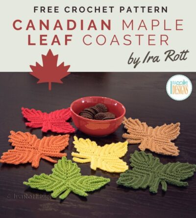 Free Crochet Pattern Canadian Maple Leaf Coaster