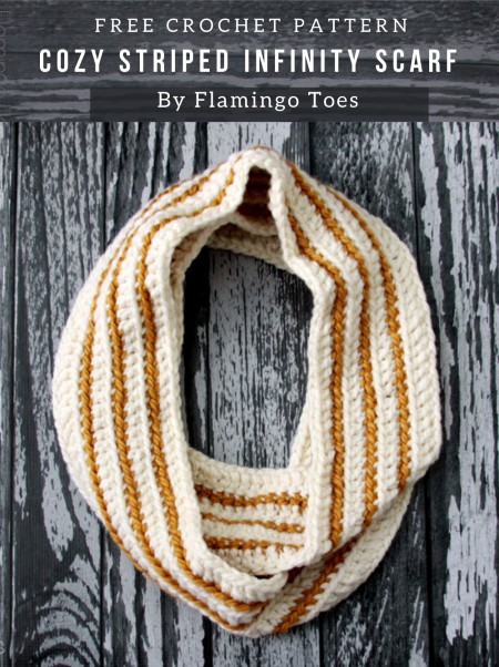 Free Crochet Pattern Cozy Striped Infinity Scarf