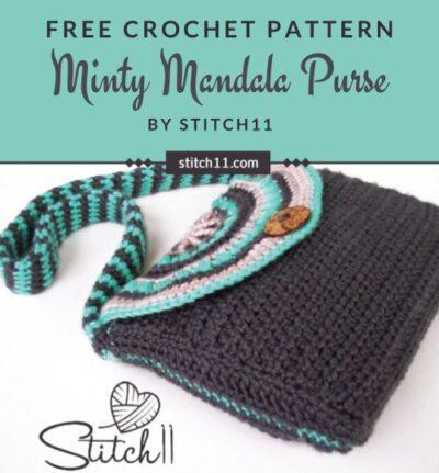 Free Crochet Pattern Minty Mandala Purse
