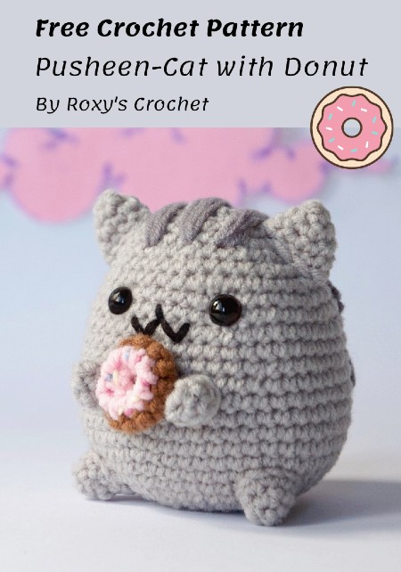 Free Crochet Pattern Pusheen-Cat with Donut