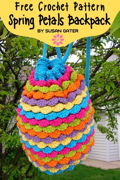 Free Crochet Pattern Spring Petals Backpack