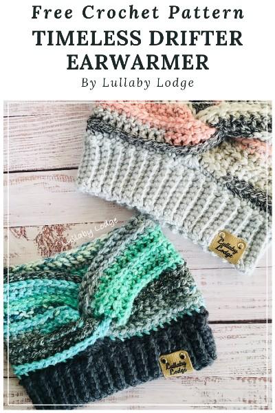 Free Crochet Pattern Timeless Drifter Earwarmer