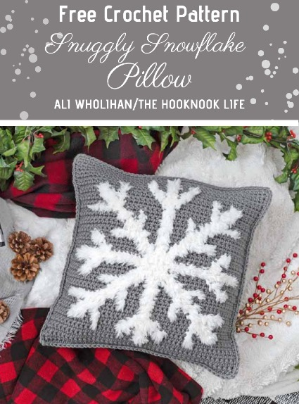 Free Crochet Pattern Snuggly Snowflake Pillow case