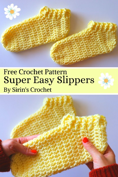 Free Crochet Pattern Super Easy Slippers