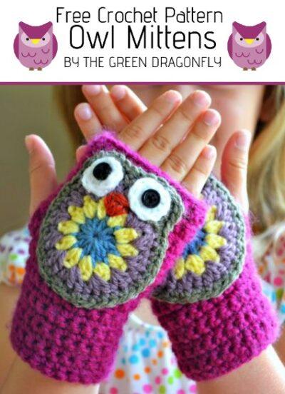 Free Crochet Pattern Owl Mittens