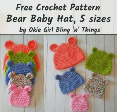 Free Crochet Pattern Bear Baby Hat