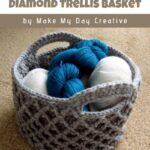 Free Crochet Pattern Diamond Trellis Basket