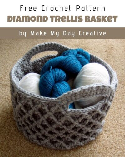 Free Crochet Pattern Diamond Trellis Basket