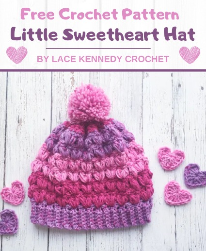 Free Crochet Pattern Little Sweetheart Hat