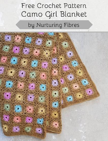 Free Crochet Pattern Camo Girl Blanket
