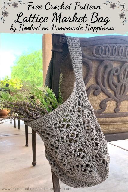 Free Crochet Pattern Lattice Market Bag