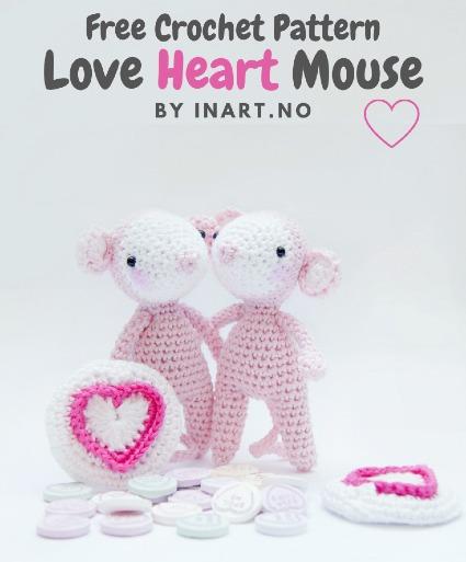 Free Crochet Pattern Love Heart Mouse