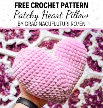 Free Crochet Pattern Patchy Heart Pillow