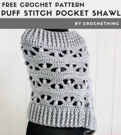 Free Crochet Pattern Puff Stitch Pocket Shawl